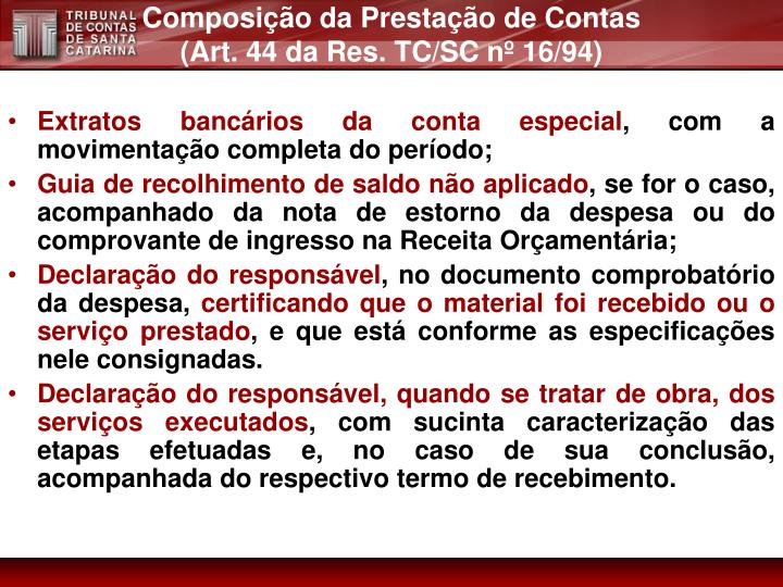 Composição da Prestação de Contas