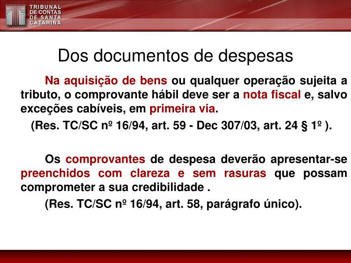 Dos documentos de despesas