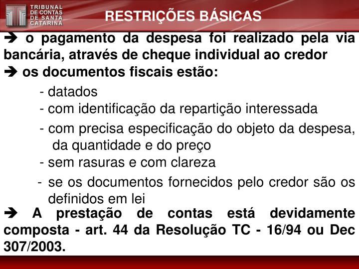 RESTRIÇÕES BÁSICAS