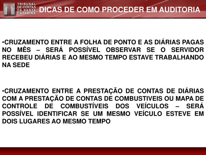 DICAS DE COMO PROCEDER EM AUDITORIA