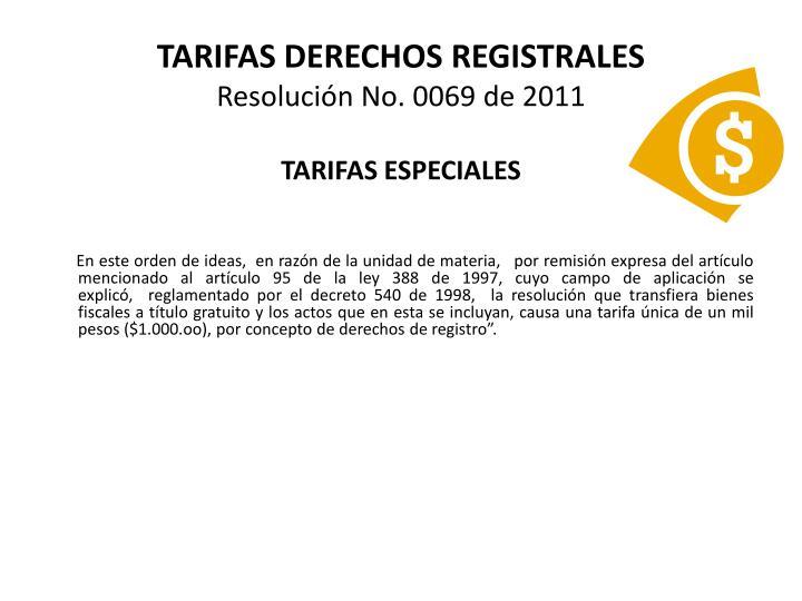 TARIFAS DERECHOS REGISTRALES