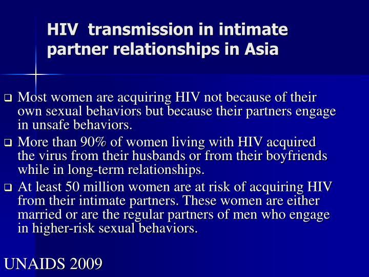 HIV transmission inintimate partner relationships in Asia