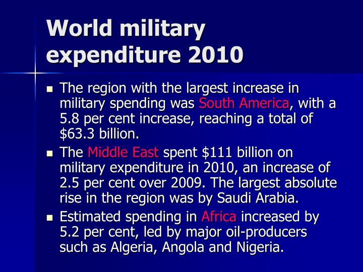 World military expenditure 2010