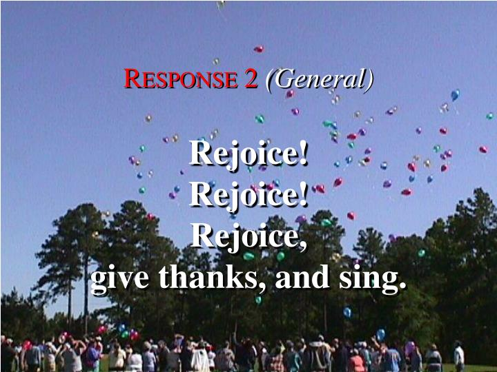Canticle of thanksgiving response 2