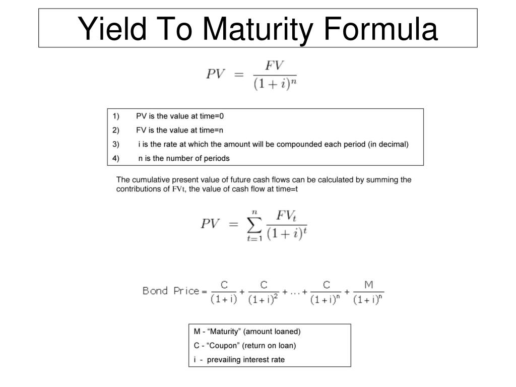 Yield to maturity equation