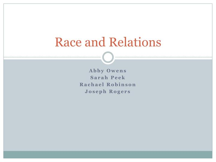 race and relations n.