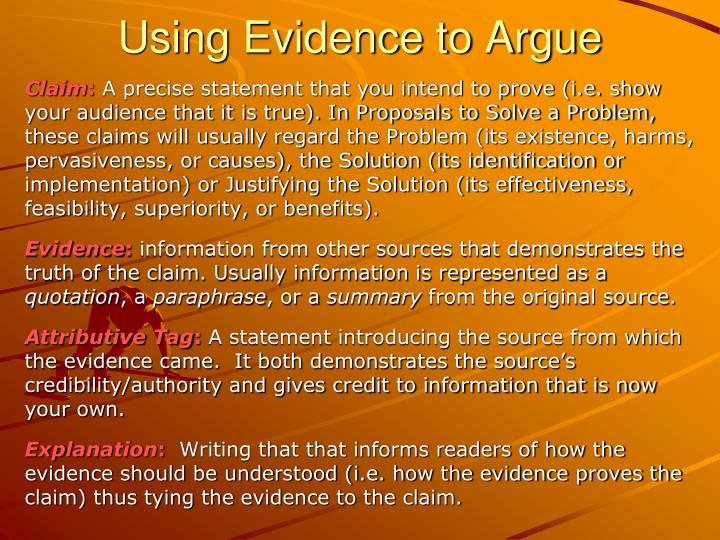 Using evidence to argue1