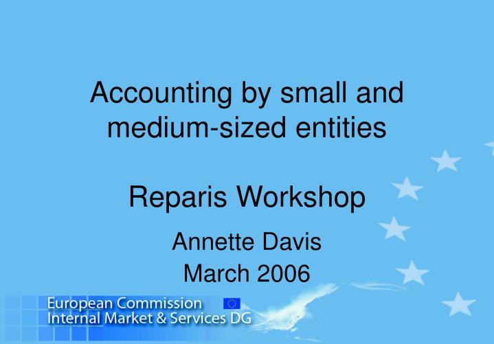 accounting by small and medium sized entities rep aris workshop n.