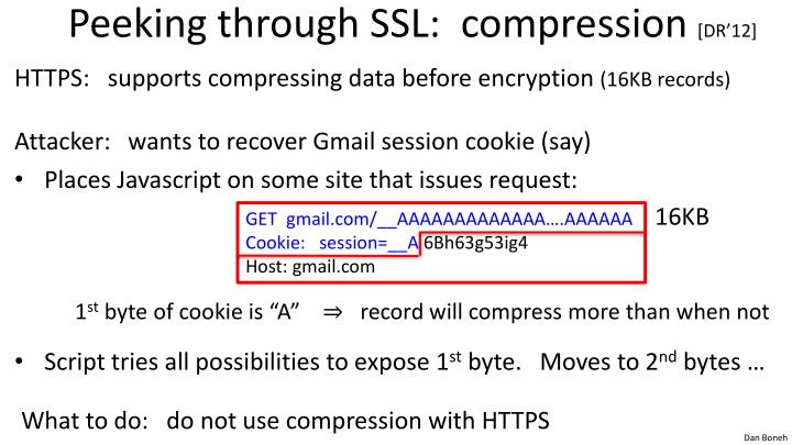 Peeking through SSL:  compression