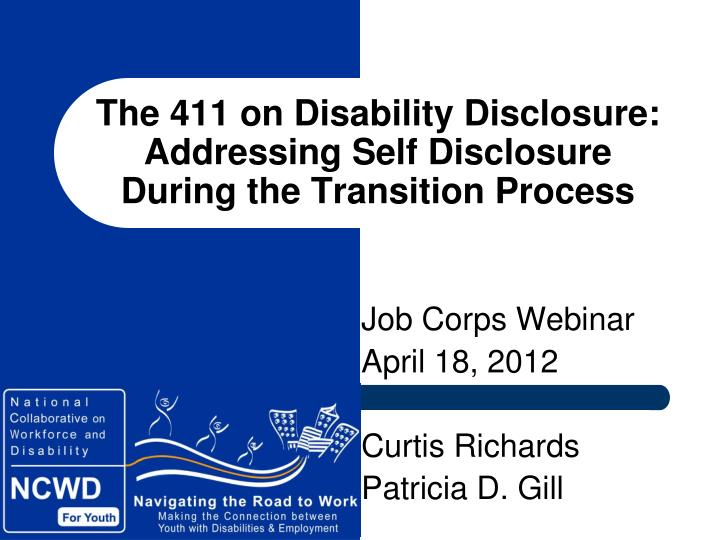 the 411 on disability disclosure addressing self disclosure during the transition process n.