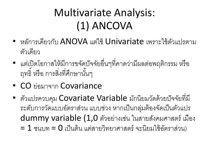 Multivariate Analysis: