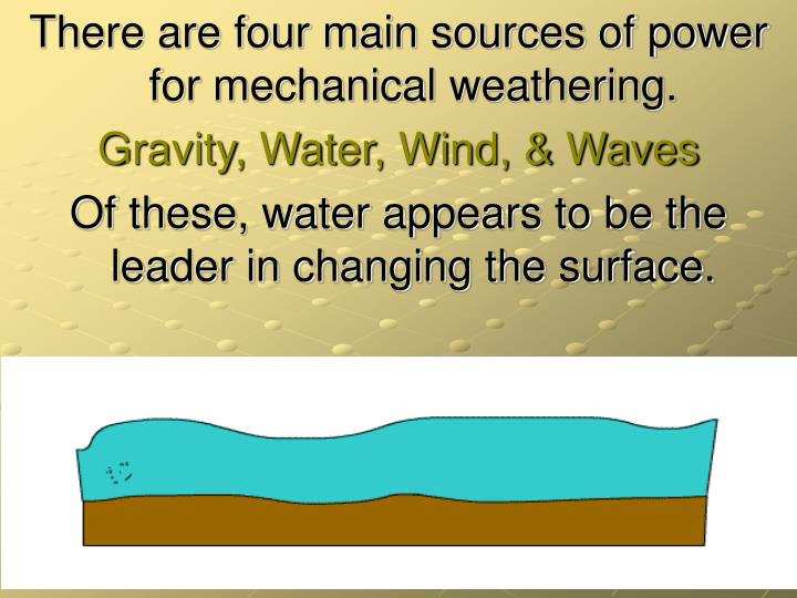 There are four main sources of power for mechanical weathering.