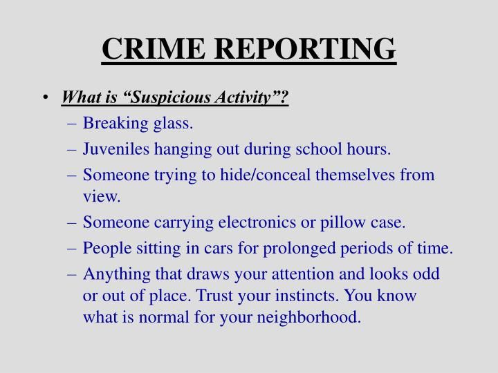 CRIME REPORTING