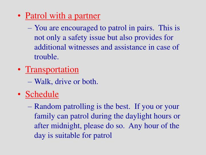 Patrol with a partner