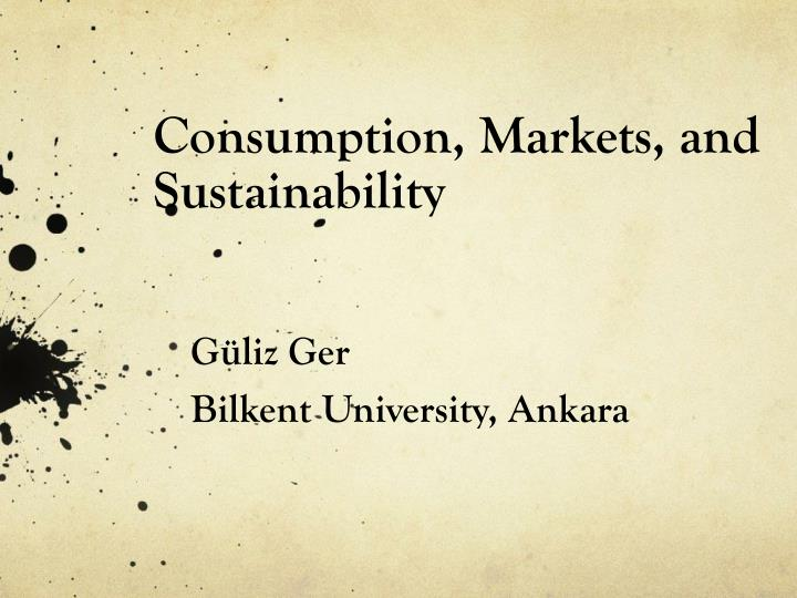 consumption markets and sustainability n.