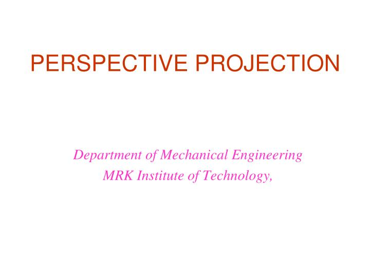perspective projection n.