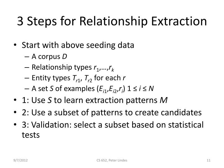 3 Steps for Relationship Extraction