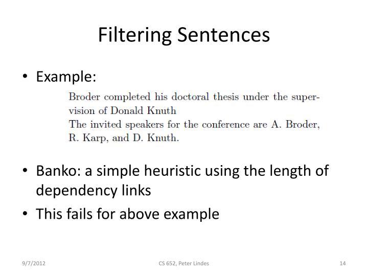 Filtering Sentences