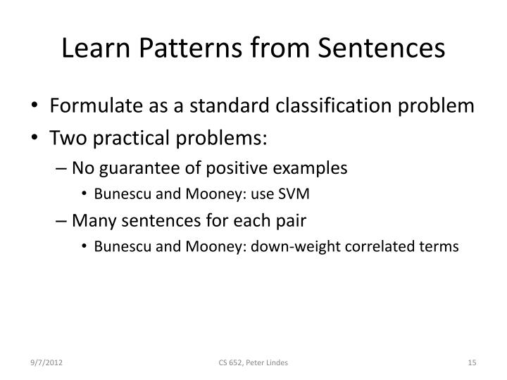 Learn Patterns from Sentences