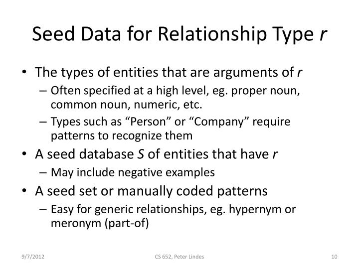 Seed Data for Relationship Type
