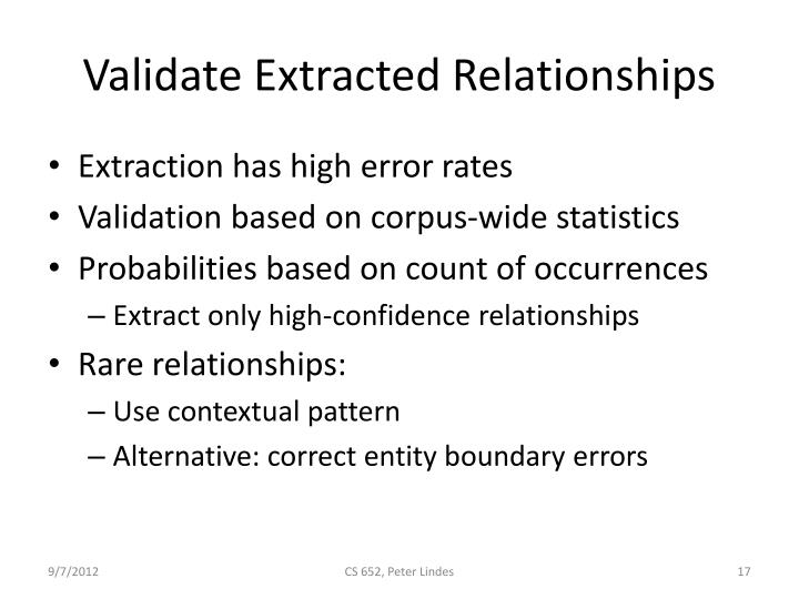 Validate Extracted Relationships