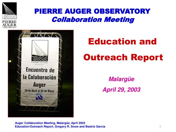 pierre auger observatory collaboration meeting n.