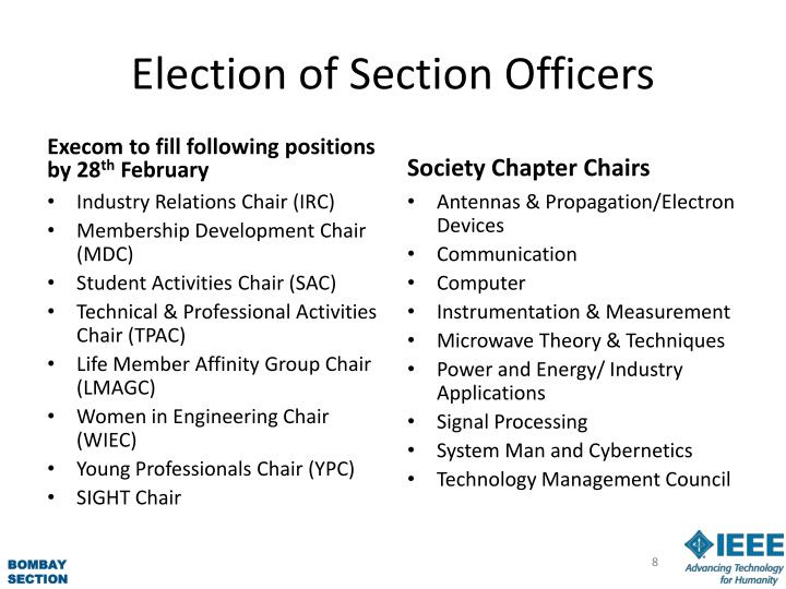 Election of Section Officers