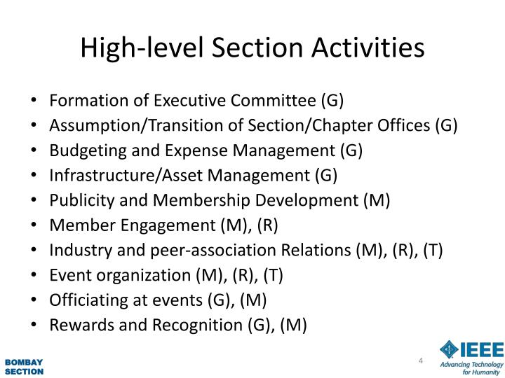 High-level Section Activities