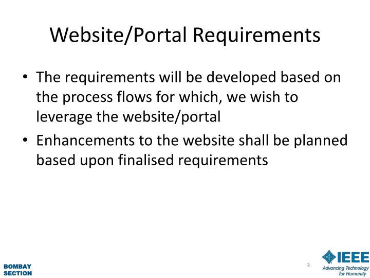 Website portal requirements