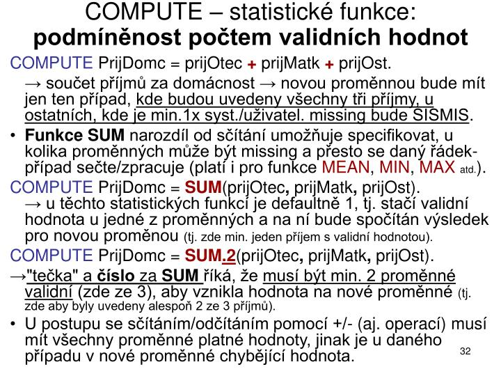 COMPUTE – statistické funkce: