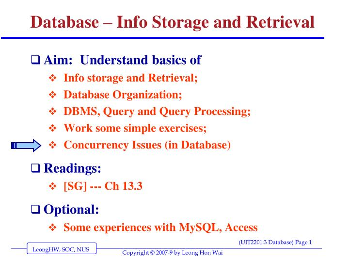 database info storage and retrieval n.
