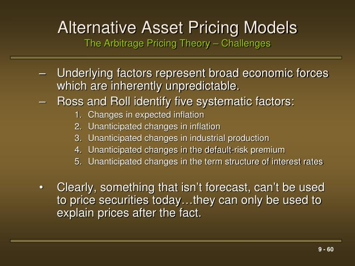 factors for asset price increase Also, two added factors don't increase performance of the model the capital asset pricing model has been one of the most prevalent models in assessing investors' expected rate of return provided that it is likely that the residuals of the estimated regression of this model resemble conditional more.