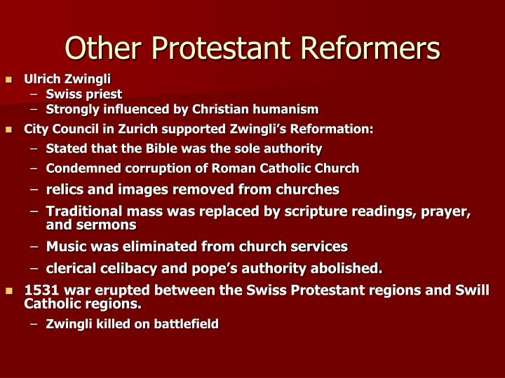 Other Protestant Reformers