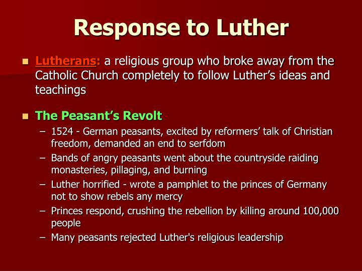 catholic response to reformation Martin luther and the 95 theses the german monk's questioning of catholic dogma leads to the protestant reformation.