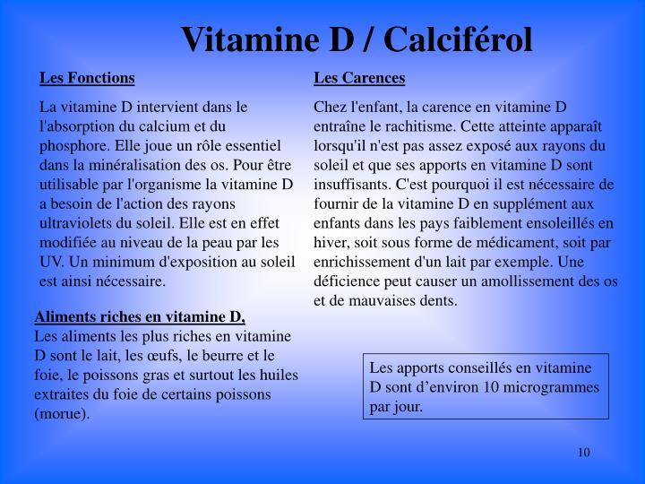 Vitamine D / Calciférol