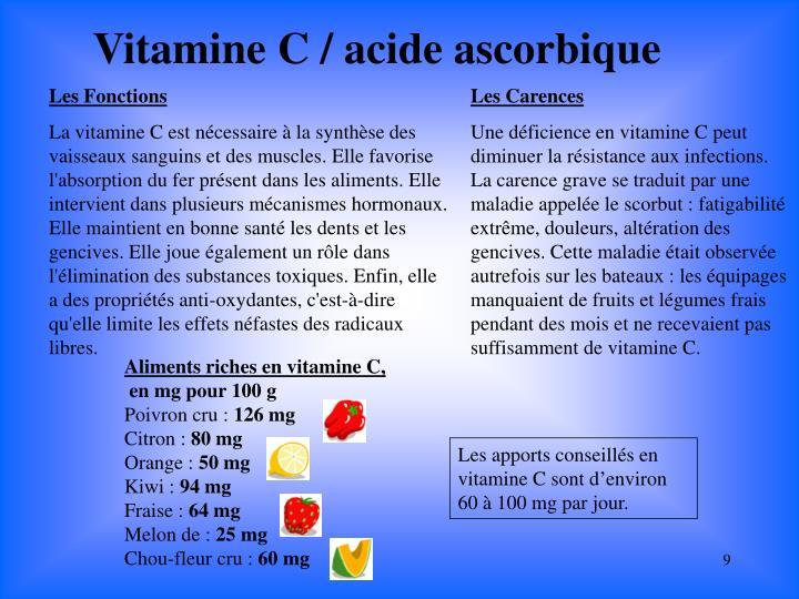 Vitamine C / acide ascorbique
