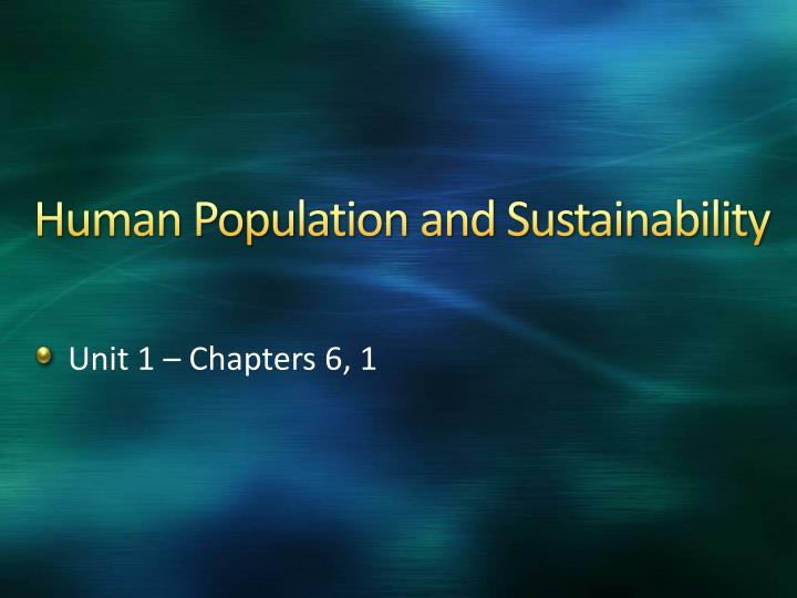 human population and sustainability n.