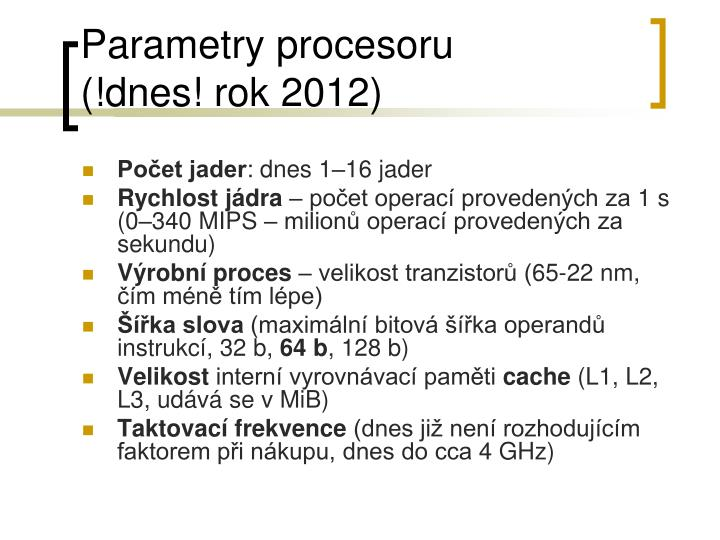 Parametry procesoru