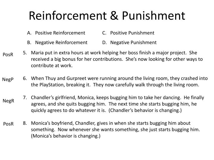 reinforcement and punishment in our daily There are two types of punishment: positive and negative reinforcement here are some examples to help clear up the confusion.