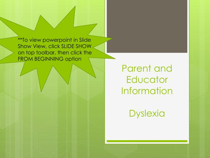 parent and educator information dyslexia n.