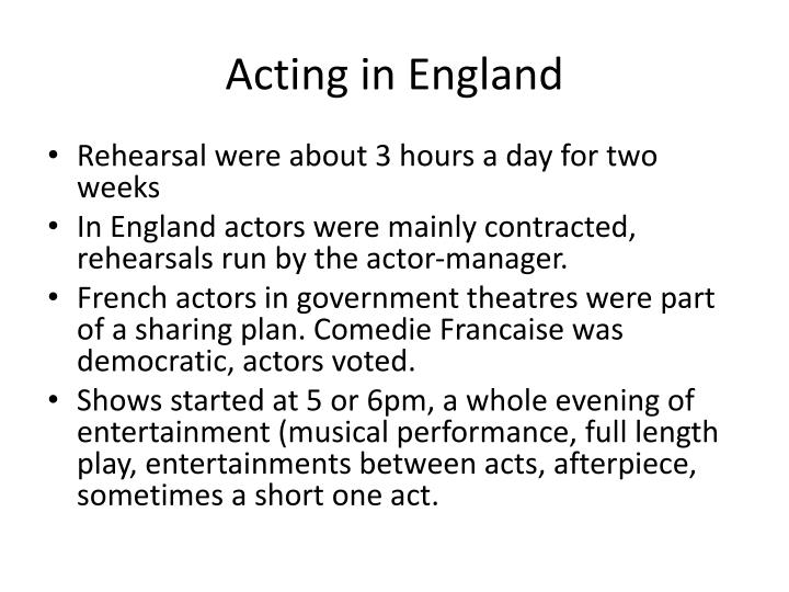 Acting in England