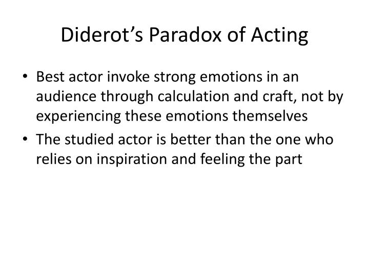 Diderot's Paradox of Acting