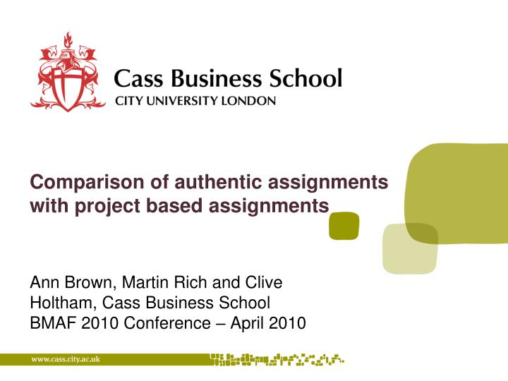 comparison of authentic assignments with project based assignments n.