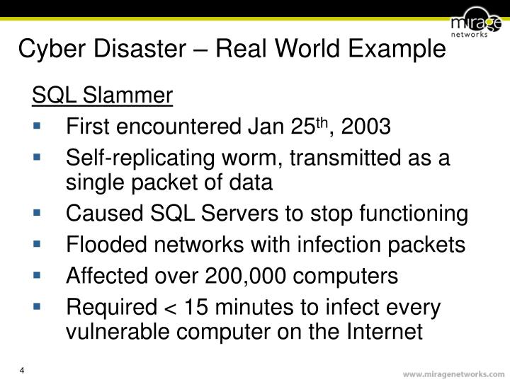 Cyber Disaster – Real World Example
