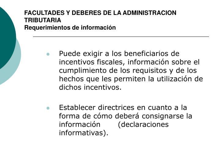 FACULTADES Y DEBERES DE LA ADMINISTRACION TRIBUTARIA