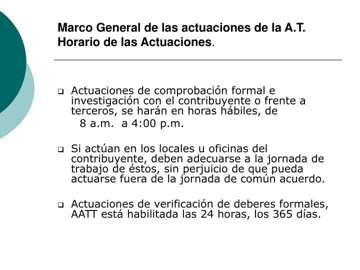 Marco General de las actuaciones de la A.T.