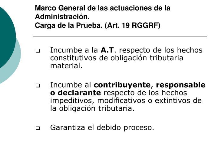 Marco General de las actuaciones de la Administración.