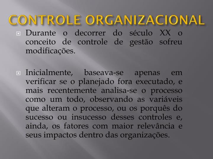 CONTROLE ORGANIZACIONAL