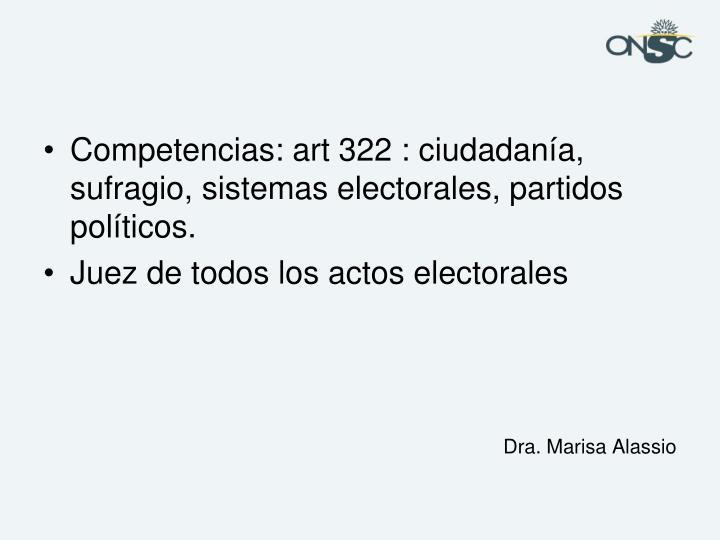 Competencias: art 322 : ciudadanía, sufragio, sistemas electorales, partidos políticos.