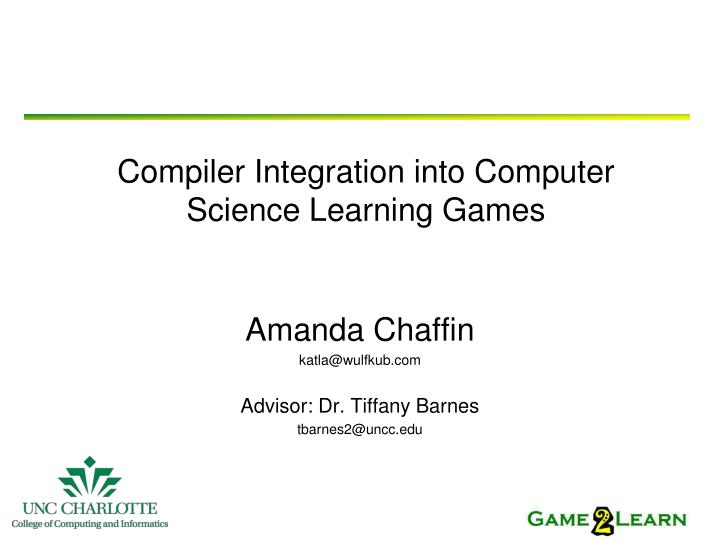 compiler integration into computer science learning games n.